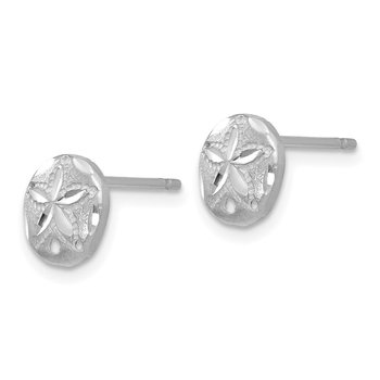 14k White Gold Diamond-cut Sand Dollar Earrings
