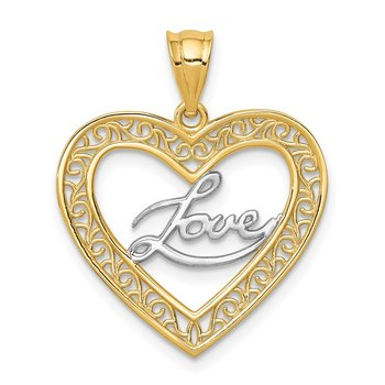 14K and White Rhodium Heart Love Pendant