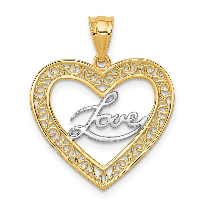 Quality Gold 14K and White Rhodium Heart Love Pendant