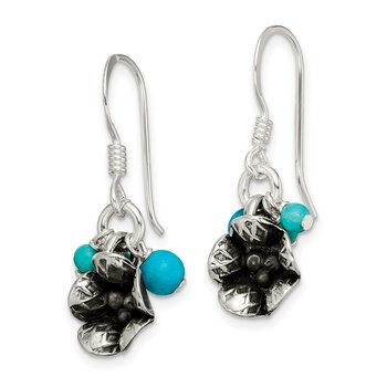 SS Turq. Howlite/Recon. Magnesite Flower Shepherd Hook Earrings
