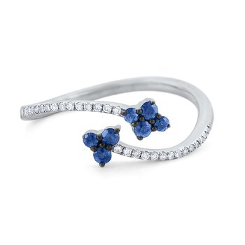 Blue Sapphire & Diamond Bypass Ring Set in 14 Kt. Gold