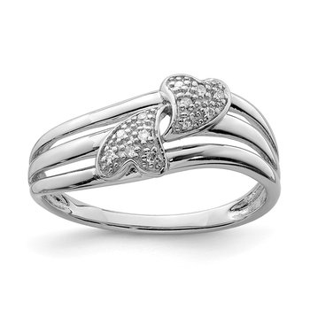 Sterling Silver Rhodium Diam. Two Heart Ring