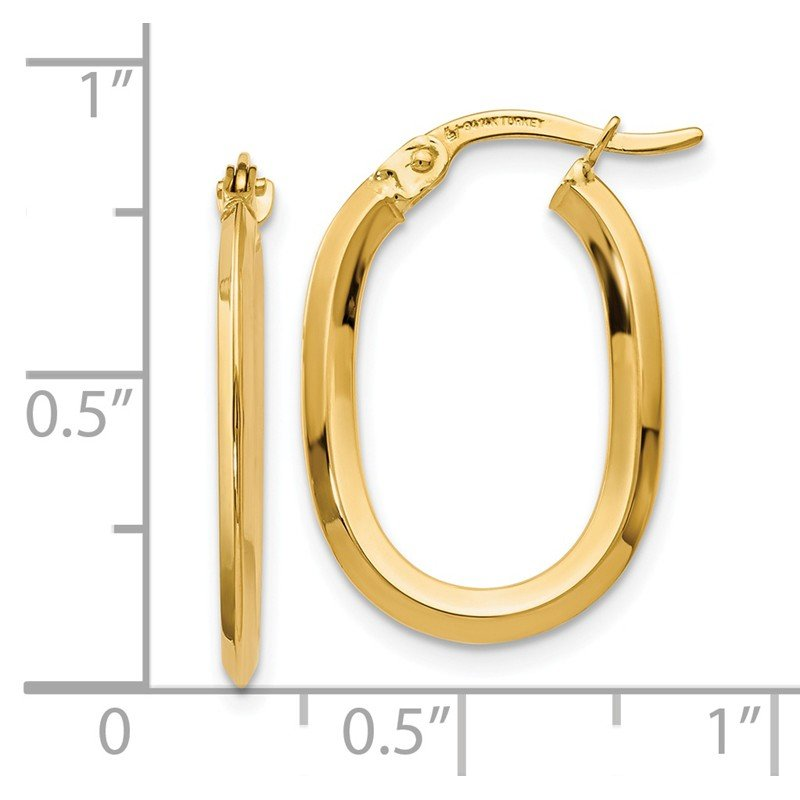 Leslie's Leslie's 14K Polished Oval Hinged Hoop Earrings