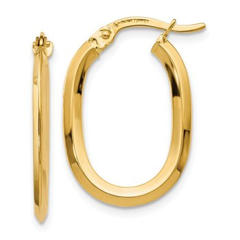 Leslie's 14k Polished Oval Hinged Hoop Earrings