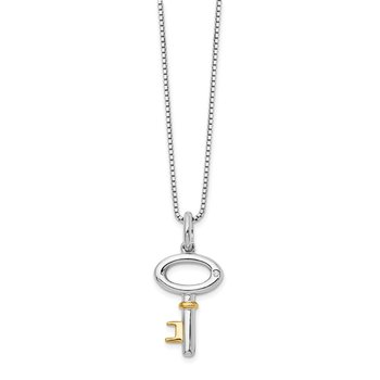 SS White Ice Gold-Tone .01ct Diamond Key Necklace