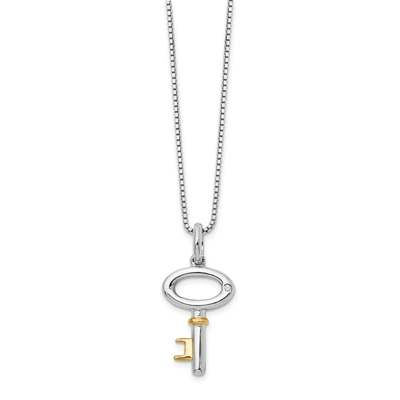 Quality Gold SS White Ice Gold-Tone .01ct Diamond Key Necklace