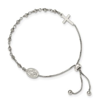 Sterling Silver Miraculous Medal Adjustable Bracelet