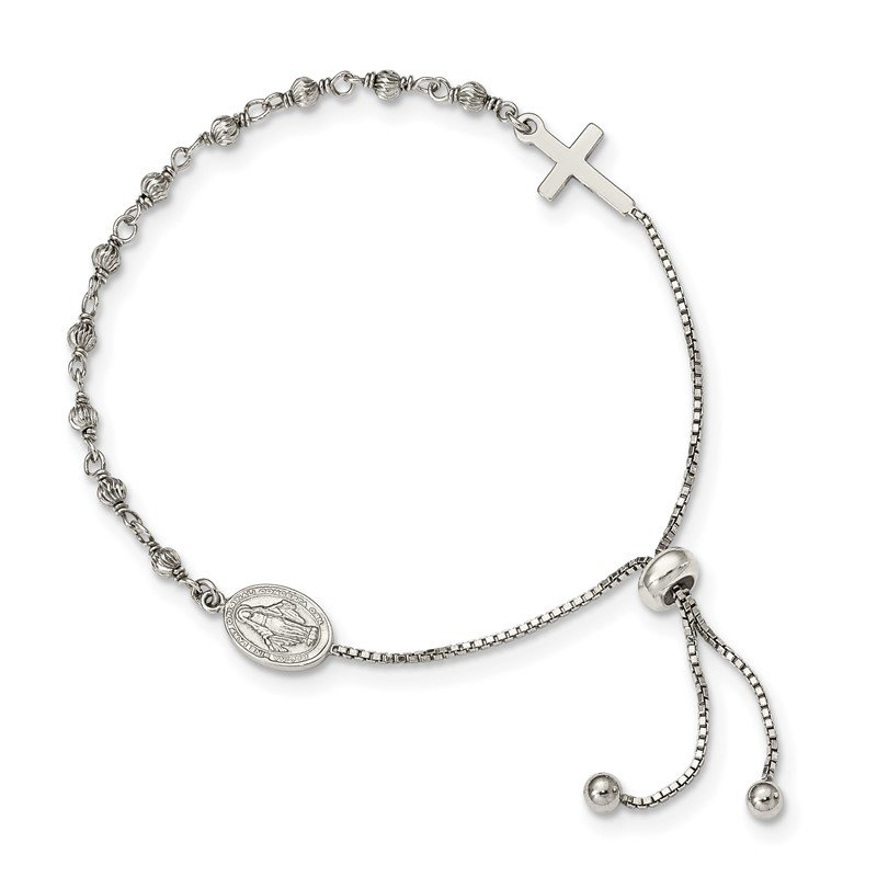 Quality Gold Sterling Silver Miraculous Medal Adjustable Bracelet