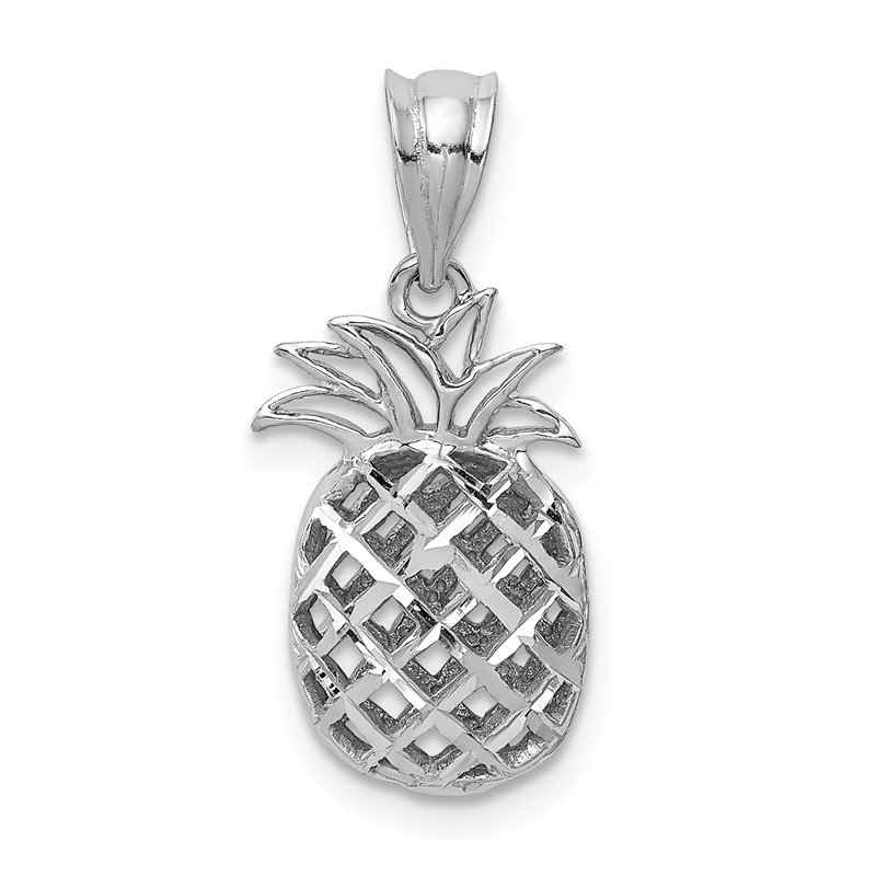 Quality Gold 14K White Polished & Diamond-cut 3D Pineapple Pendant