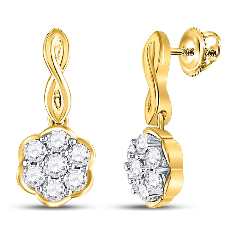 Kingdom Treasures 10kt Yellow Gold Womens Round Diamond Flower Cluster Dangle Earrings 1/2 Cttw