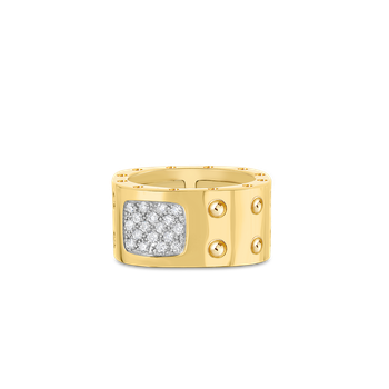 2 Row Square Ring With Diamonds &Ndash; 18K Yellow Gold, 7.5