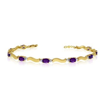 14K Yellow Gold Oval Amethyst and Diamond Bracelet