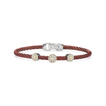 Burgundy Cable Essential Stackable Bracelet with Triple Round Diamond station set in 18kt Yellow Gold