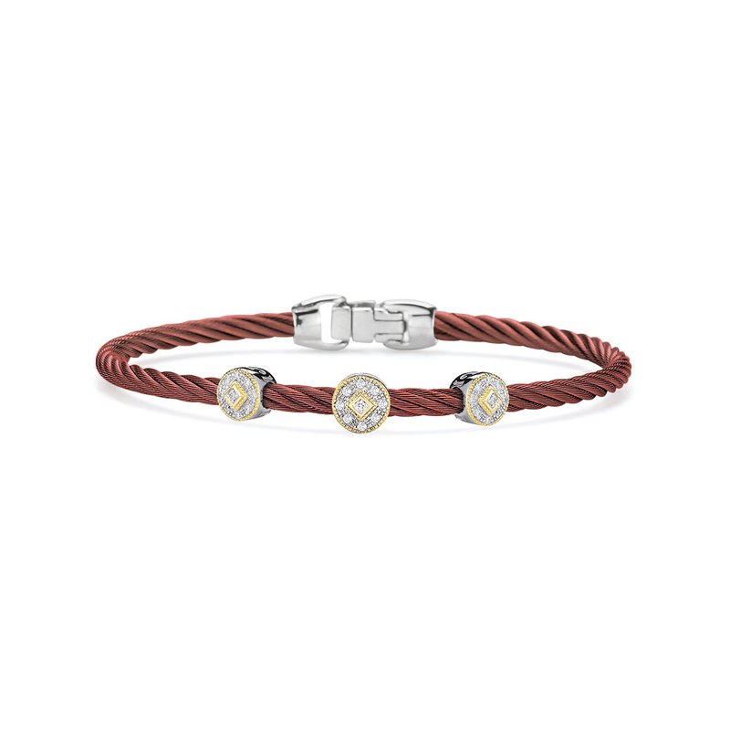 ALOR Burgundy Cable Essential Stackable Bracelet with Triple Round Diamond station set in 18kt Yellow Gold