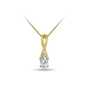 10K YG and diamond and white Sapphire infinity style birthstone pendant