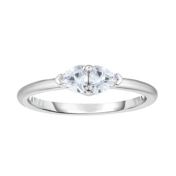 Silver Trillion CZ Stackable Ring