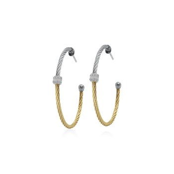 Grey & Yellow Colorblock Hoop Earrings