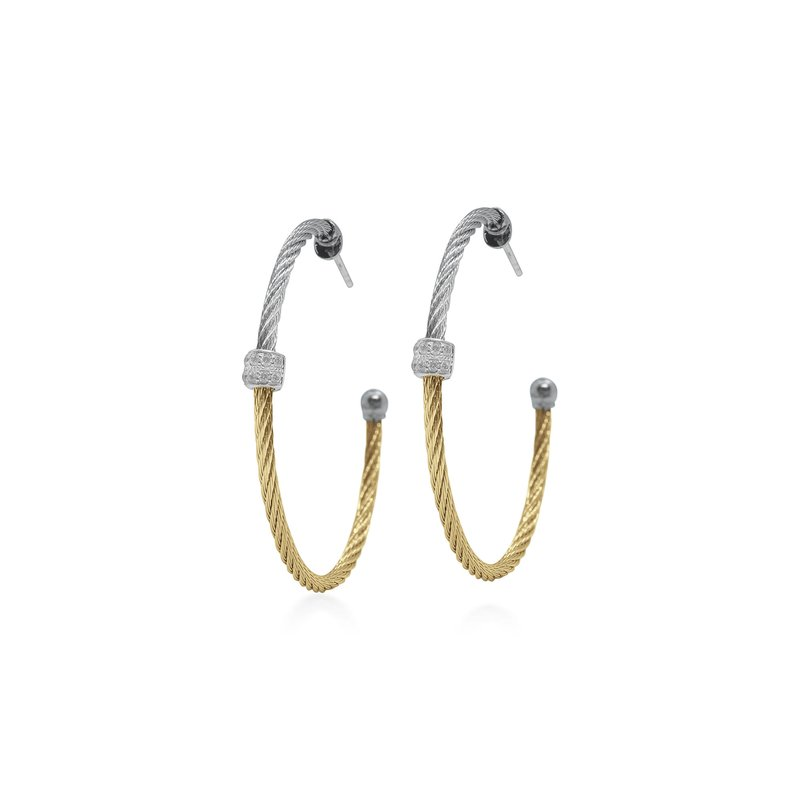 ALOR Grey & Yellow Colorblock Hoop Earrings