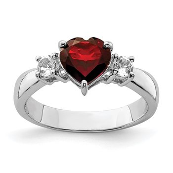Sterling Silver Rhodium-plated Heart Garnet & White Topaz Ring