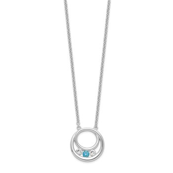 Sterling Silver Survivor Clear & Blue Swarovski Topaz Circle of Hope Neckla