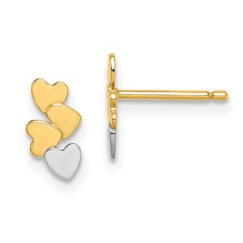 14k Madi K & White Rhodium Hearts Post Earrings