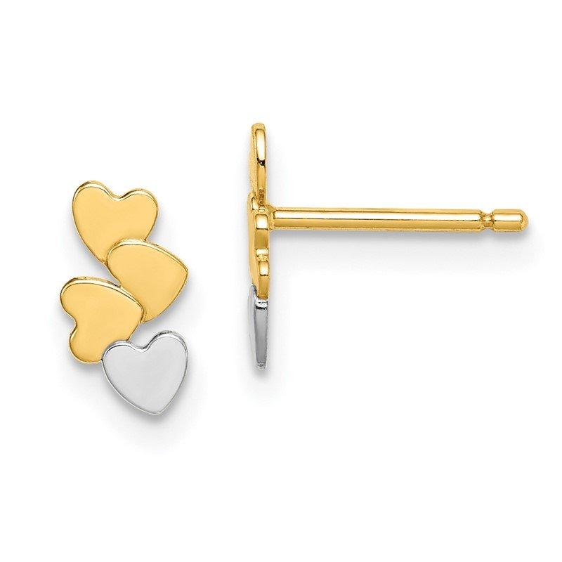 Quality Gold 14k Madi K & White Rhodium Hearts Post Earrings