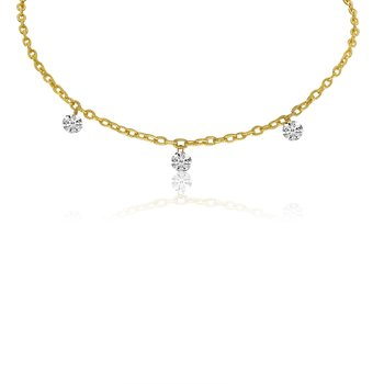 "14K Yellow Gold .75 Three-Stone Diamond Necklace with 18"" Rolo  Chain"