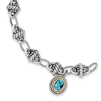 Sterling Silver w/14k Light Swiss Blue Topaz Bracelet