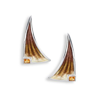 Brown Sail Stud Earrings.Sterling Silver-Citrine