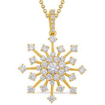Yellow Gold Snowflake Diamond Pendant