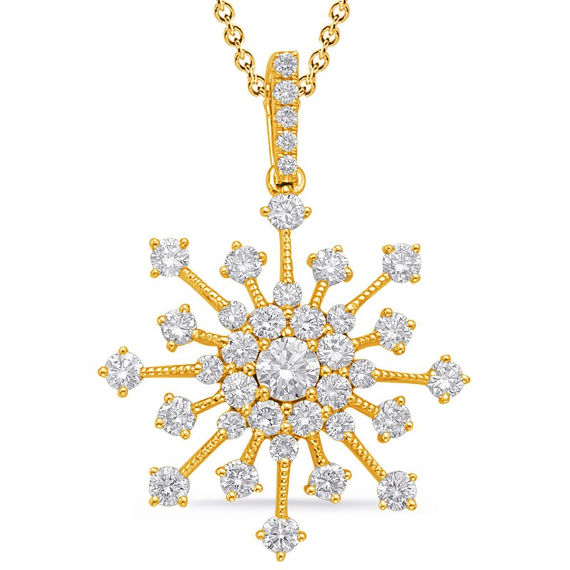 S. Kashi  & Sons Yellow Gold Snowflake Diamond Pendant