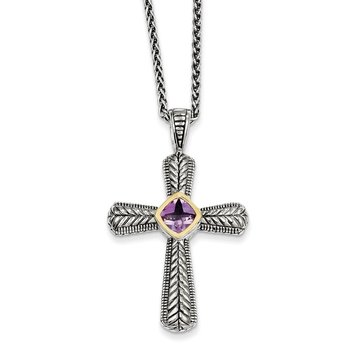 Sterling Silver w/14k Amethyst Cross Necklace