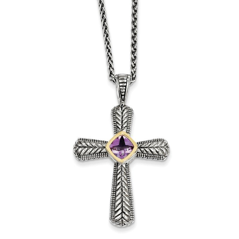 Shey Couture Sterling Silver w/14k Amethyst Cross Necklace
