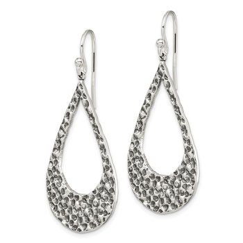 Sterling Silver Textured Teardrop Hoop Earrings