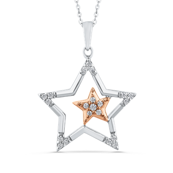 10K Two-Tone Gold .13 ct Round Diamond Star Shape Fashion Pendant with Chain