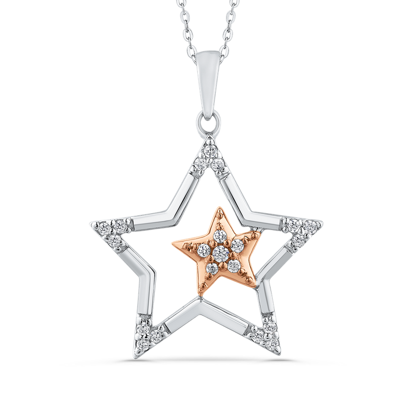 Essentials 10K Two-Tone Gold .13 ct Round Diamond Star Shape Fashion Pendant with Chain