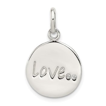 Sterling Silver Polished and Diamond-cut LOVE CZ Charm