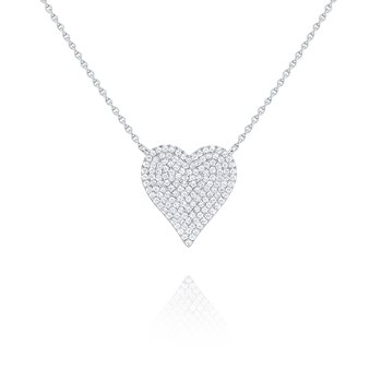 14kw Gold and Diamond Pave Heart Necklace
