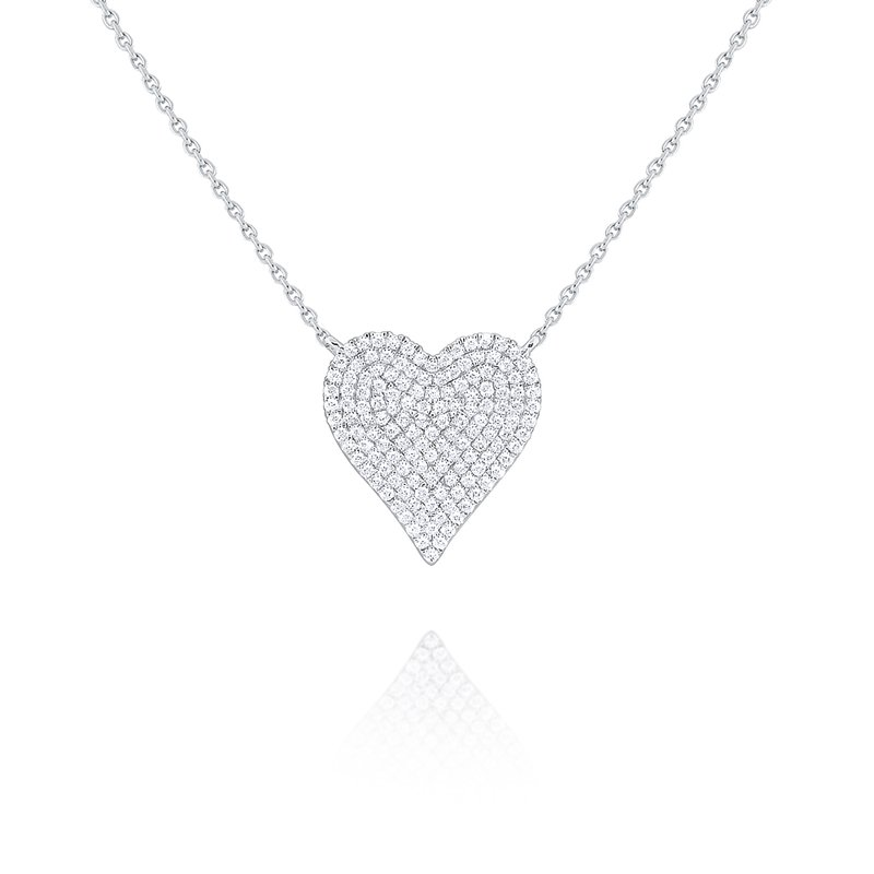 MAZZARESE Fashion 14kw Gold and Diamond Pave Heart Necklace