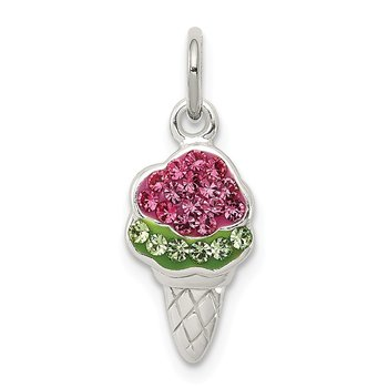 Sterling Silver Pink and Green Stellux Crystal Ice Cream Cone Charm