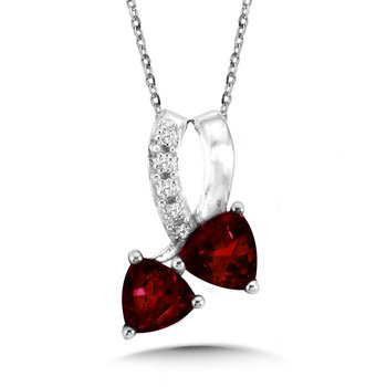 Trillion-Cut  Garnet and Diamond Pendant
