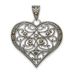 Quality Gold Sterling Silver Marcasite Heart Pendant