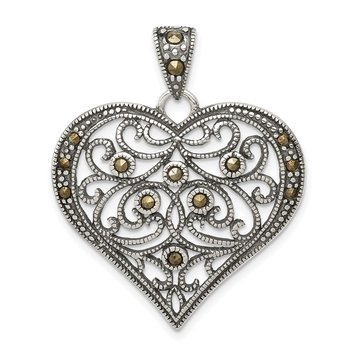 Sterling Silver Marcasite Heart Pendant