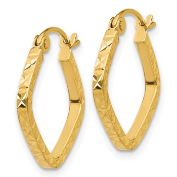 14K Diamond Cut Squared Hoop Earrings