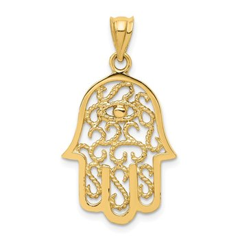 14k Polished Filigree Hamsa Pendant