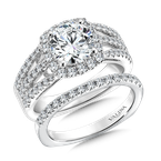 Valina Bridals Cushion shape halo mounting .70 ct. tw., 1 1/2 ct. round center.