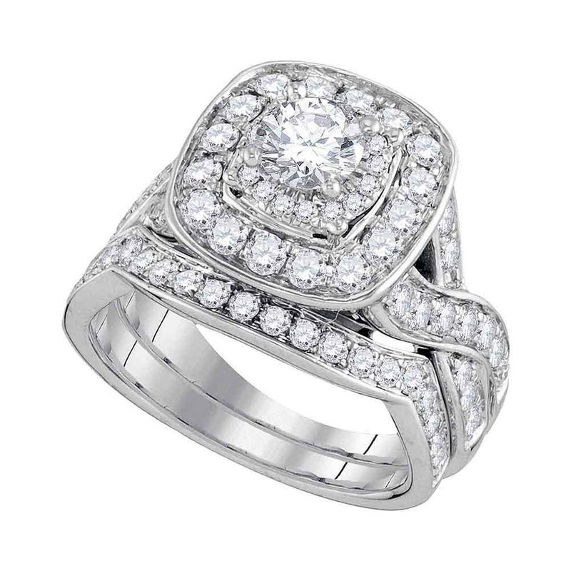 Kingdom Treasures 14kt White Gold Womens Round Diamond Halo Bridal Wedding Engagement Ring Band Set 2.00 Cttw