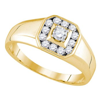 14kt Yellow Gold Mens Round Diamond Cluster Ring 1/2 Cttw