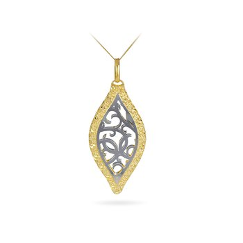 14K WY Laser Cut  Leaf Shape Filigree Design Pendant