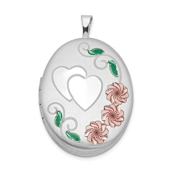 Sterling Silver Rhodium-plated 26mm Enameled, D/C Floral & Heart Oval Lock